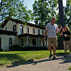 JAY YOUNG | THE GOSHEN NEWS<br /> Steve Gruber leads a small group past the Havilah Beardsley House in Elkhart during his Kings of the Hill Tour Wednesday morning in Elkhart. The 45 minute long walking tour covered approximately half a mile and made 11 stops. Gruber spent the tour talking about the well-known families of Elkhart around the turn of the 20th century.