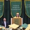 ADAM RANDALL | THE GOSHEN NEWS<br /> Wawasee High School class of 2017 salutatorian Lauren Bogart addresses fellow students