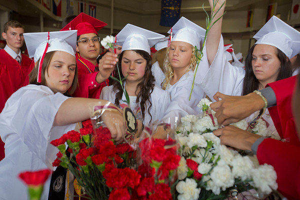 JAY YOUNG | THE GOSHEN NEWS<br /> Goshen High School graduating seniors reach for red and white carnations before the start of the 2017 commencement ceremony Sunday afternoon.