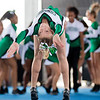 JAY YOUNG | THE GOSHEN NEWS<br /> A member of the Concord High cheer squad backflips across the stage while competing in the 44th annual cheerleading contest that is part of the Elkhart County 4-H Fair Friday afternoon. Three cheer squads took part in the competitive portion of the event, with Concord taking first place, Wawasee High taking second place and Oregon-Davis High placing third. John Adams High was also on hand as the only squad competing in the spirit squad portion of the event. Other activities included a jump off and demonstrations by Indiana Ultimate.