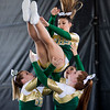 JAY YOUNG | THE GOSHEN NEWS<br /> Cheerleaders with Wawasee High catch a member of their squad while competing in the 44th annual cheerleading contest that is part of the Elkhart County 4-H Fair Friday afternoon. Three cheer squads took part in the competitive portion of the event, with Concord taking first place, Wawasee High taking second place and Oregon-Davis High placing third. John Adams High was also on hand as the only squad competing in the spirit squad portion of the event. Other activities included a jump off and demonstrations by Indiana Ultimate.