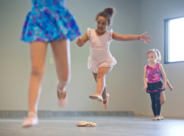 JAY YOUNG | THE GOSHEN NEWS<br /> Young dancers, including Khloe Beachy, practice leaping during a Kinderdance class Wednesday evening at Epic Dance Studios.