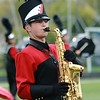 Stacey Diamond | The Goshen News<br /> A NorthWood saxaphone player performs Saturday during the Red Regiment's Semi-State competition. The band qualified for the state finals coming up Saturday.