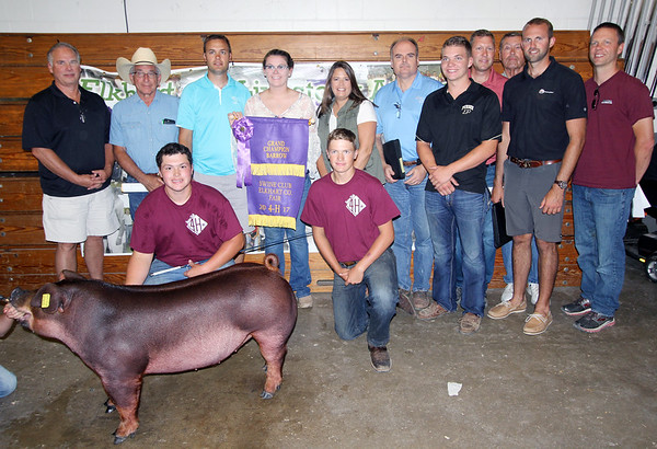 JOHN KLINE | THE GOSHEN NEWS<br /> Grand Champion Swine winner Bryce Wuthrich, third from left, kneeling, shows off his winning entry with buyers and supporters, from left, Phil Tom, Turtle Top and Independent Lightning Protection, Loren Sloat, lawyer, Troy Wuthrich, girlfriend Kaitlin Bailey, mom Amanda Wuthrich, brother Joshua Wuthrich, kneeling, Keith Goodman, Lake City Bank, Jared Templin, Templin Farms, father Brian Wuthrich, grandfather Stan Wuthrich, Clark Warner, North Central Co-Op, and Tom Smith, Milford Animal Clinic, during the Elkhart County 4-H Swine Auction Friday afternoon.