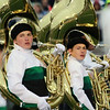 Stacey Diamond | The Goshen News<br /> Cameron Crussemeyer, a junior, and Malachi Stahlhandske, a freshman, strike a pose during the Concord Marching Minutemen's performance at ISSMA Semi-State at Ben Davis High School Saturday.