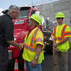 JAY YOUNG | THE GOSHEN NEWS<br /> Indiana governor Eric Holcomb shakes hands with Indiana Department of Transportation project engineer Feroz Dubash following a press conference Monday afternoon in Goshen.