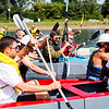 JAY YOUNG | THE GOSHEN NEWS<br /> PJ Pollack, with Grand Design, center, fights with other boats to pull away at the starting line during the United Way's Great Cardboard Boat Race Friday afternoon at the LaSalle Bristol Pond in Elkhart.