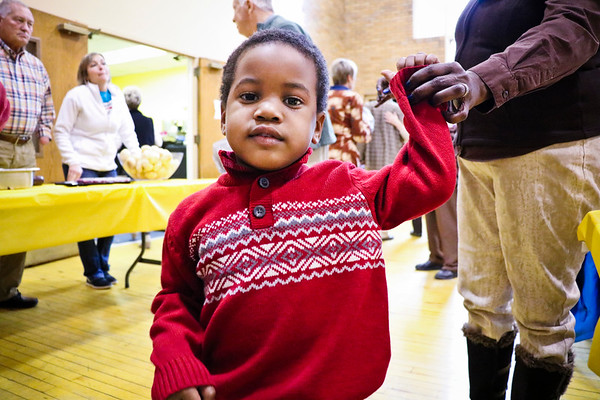 LEANDRA BEABOUT | THE GOSHEN NEWS<br /> Three-year-old Noh'lan Suggs enjoyed socializing just as much as eating during the Thanksgiving meal at Goshen's First United Methodist Church.