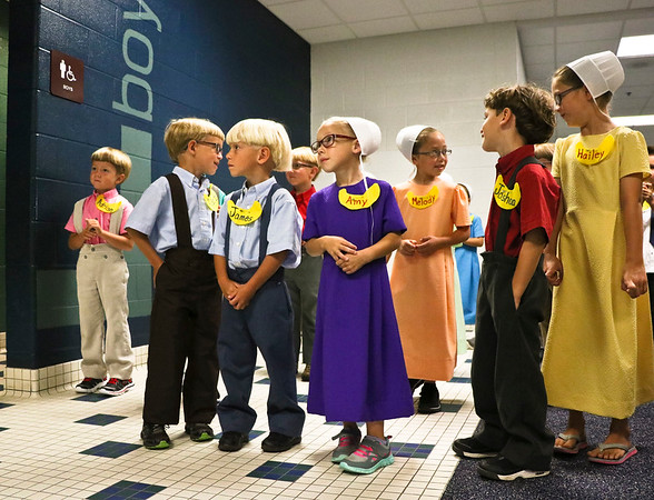 LEANDRA BEABOUT | THE GOSHEN NEWS<br /> Missy Pixley's kindergarteners gather outside the bathroom to learn about bathroom procedures on the first day of school at Meadowview Elementary School.