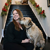 LEANDRA BEABOUT | THE GOSHEN NEWS <br /> Nanci Wirt sits with her dog Odie inside n. wirt design & gallery.