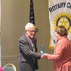 Photo by Edward Damon/Transcript Staff<br /> Henry Flynt, Jr. (left) with Rotary Club of Williamstown President Anne Skinner. Flynt, 91, received an award for 60 years of serving the community at a Rotary luncheon on Tuesday at the Williams Inn. Flynt was inducted into the Williamstown Rotary in 1953.