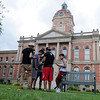 HALEY WARD | THE GOSHEN NEWS <br /> Victor Moreno, Eduardo Pizana, Alan Perez, Steve Perez and Jose Ledezma gather outside the Elkhart County Courthouse while playing Pokémon Go on Thursday. The group of friends met to walk around Goshen to catch Pokémon and Wednesday they were out for four hours.