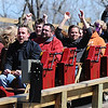 Globe/T. Rob Brown<br /> Roller coaster enthusiasts are filled with excitement as a train of the Outlaw Run roller coaster heads into the station Wednesday, March 13, 2013, at Silver Dollar City in Branson. Outlaw Run is the park's new hybrid wood-steel coaster with multiple inversions including a double barrel roll.
