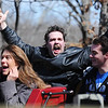 Globe/T. Rob Brown<br /> Robert A. Montgomery, of Branson, a Silver Dollar City employee, yells with excitement as a train of the Outlaw Run roller coaster heads into the station Wednesday, March 13, 2013, at Silver Dollar City in Branson. Outlaw Run is the park's new hybrid wood-steel coaster with multiple inversions including a double barrel roll.