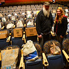 KRISTOPHER RADDER — BRATTLEBORO REFORMER<br /> Robert Osborne, DJ for WOLL-FM, and Amanda Reed, operations assistant for Our Place Drop-In Center, stands by some of the food that was donated for Overflow the Opera House event at the Bellows Falls Opera House, in Bellows Falls,  on Thursday, Sept. 12, 2019.