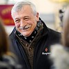 """BEN GARVER — THE BERKSHIRE EAGLE<br /> Pittsfield Fire Deputy Chief Michael Polidoro greets friends and firefighters during a dedication of Engine 6 """"Poly's Pride"""" in his honor. Polidoro retired two years ago due to ALS, Monday February 11, 2019."""