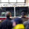 """BEN GARVER — THE BERKSHIRE EAGLE<br /> Guests and firefighters gather at the dedication Pittsfield Fire Department's Engine 6 to """"Poly's Pride"""" in honor of retired Deputy Chief Michael Polidoro who retired two years ago due to ALS, Monday February 11, 2019."""