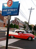 A vintage Chevrolet pulls into the Vine Street parking lot for the ribbon cutting for Lansdale's Wood-Vine Connector Thursday, Sept. 18, 2014.<br /> Bob Raines-The Reporter