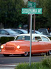 A vintage Rambler passes the intersection of Vine St. and Susquehanna Ave during the parade of classic cars heading for the Vine Street parking lot for the ribbon cutting for Lansdale's Wood-Vine Connector Thursday, Sept. 18, 2014.<br /> Bob Raines-The Reporter