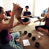 "Rain Prayer004.JPG Instructor Sraddha Pavia, left, Michelle Pitcher and Philip Jones chant during a rain prayer at Om Time on Wednesday, June 27, at 2035 Broadway in Boulder. For a video of the rain prayer go to  <a href=""http://www.dailycamera.com"">http://www.dailycamera.com</a><br /> Jeremy Papasso/ Camera"