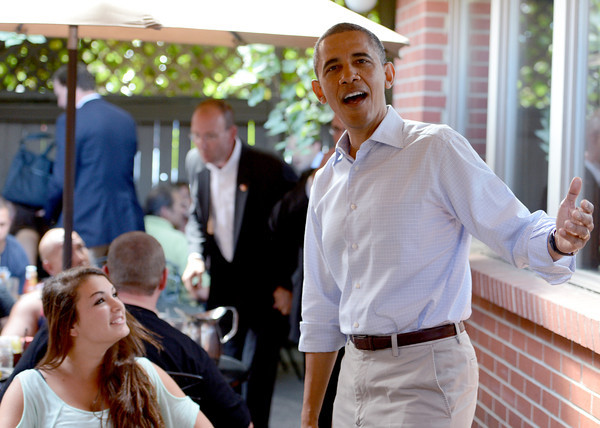 """President Barack Obama talks to customers at the Buff Restaurant in Boulder on Sunday  September 2, 2012.<br /> For more photos and a video of Obama, go to  <a href=""""http://www.dailycamera.com"""">http://www.dailycamera.com</a>.<br /> Cliff Grassmick  / September 2, 2012"""