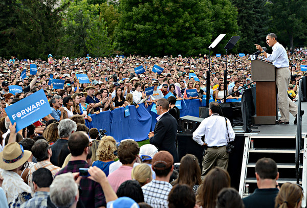 """President Barack Obama speaks on Norlin Quad at the University of Colorado in Boulder on Sunday, Sept. 2, 2012.  For more photos and videos visit  <a href=""""http://www.DailyCamera.com"""">http://www.DailyCamera.com</a>.<br /> (Greg Lindstrom/Times-Call)"""