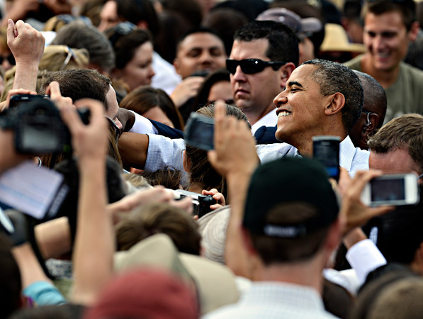 "President Barack Obama greets fans after his speech on Norlin Quad at the University of Colorado in Boulder on Sunday, Sept. 2, 2012.  For more photos and videos visit  <a href=""http://www.DailyCamera.com"">http://www.DailyCamera.com</a>.<br /> (Greg Lindstrom/Times-Call)"