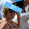 """A supporter shades herself with a sign as President Barack Obama speaks on Norlin Quad at the University of Colorado in Boulder on Sunday, Sept. 2, 2012.  For more photos and videos visit  <a href=""""http://www.DailyCamera.com"""">http://www.DailyCamera.com</a>.<br /> (Greg Lindstrom/Times-Call)"""