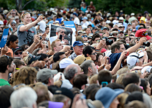 """Fans try to take pictures of President Barack Obama after his speech on Norlin Quad at the University of Colorado in Boulder on Sunday, Sept. 2, 2012.  For more photos and videos visit  <a href=""""http://www.DailyCamera.com"""">http://www.DailyCamera.com</a>.<br /> (Greg Lindstrom/Times-Call)"""