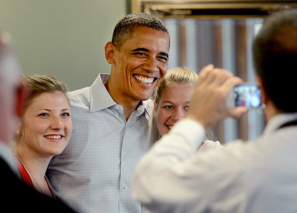 """President Barack Obama poses for a photo at the Buff Restaurant in Boulder on Sunday  September 2, 2012.<br /> For more photos and a video of Obama, go to  <a href=""""http://www.dailycamera.com"""">http://www.dailycamera.com</a>.<br /> Cliff Grassmick  / September 2, 2012"""