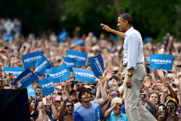 "President Barack Obama greets supporters before speaking on Norlin Quad at the University of Colorado in Boulder on Sunday, Sept. 2, 2012.  For more photos and videos visit  <a href=""http://www.DailyCamera.com"">http://www.DailyCamera.com</a>.<br /> (Greg Lindstrom/Times-Call)"