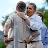 "President Barack Obama has a hug for Colorado Governor, John Hinkenlooper  at the University of Colorado's Norlin Quad on Sunday  September 2, 2012.<br /> For more photos and a video of Obama, go to  <a href=""http://www.dailycamera.com"">http://www.dailycamera.com</a>.<br /> Cliff Grassmick  / September 2, 2012"