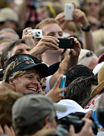 """Supporters snap pictures of President Barack Obama after his speech on Norlin Quad at the University of Colorado in Boulder on Sunday, Sept. 2, 2012.  For more photos and videos visit  <a href=""""http://www.DailyCamera.com"""">http://www.DailyCamera.com</a>.<br /> (Greg Lindstrom/Times-Call)"""