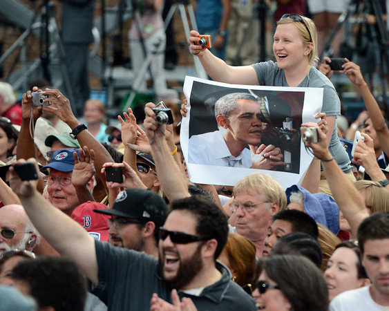 """An enthusiastic crowd cheer for Presidenst Obama after his speech on Norlin Quad at the University of Colorado.<br /> For more photos and a video of Obama, go to  <a href=""""http://www.dailycamera.com"""">http://www.dailycamera.com</a>.<br /> Cliff Grassmick  / September 2, 2012"""