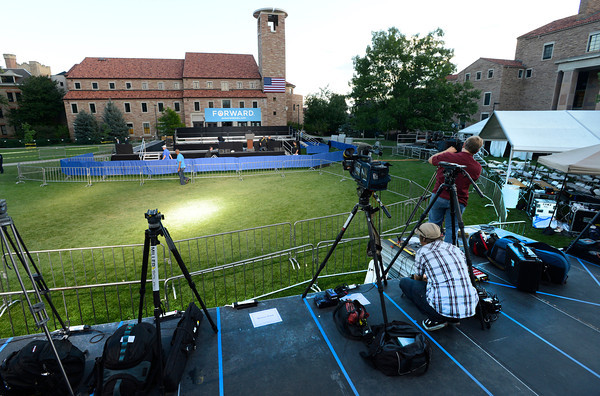 The media set up early Sunday morning on the Norlin Quad on the University of Colorado Boulder Campus in advance of the appearance of President Barak Obama.<br /> Photo by Paul Aiken / The Daily Camera / September 2, 21012