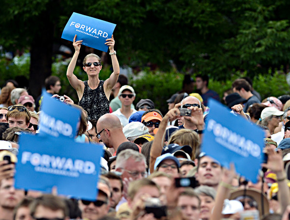 """A fan looks for a better view as President Barack Obama speaks on Norlin Quad at the University of Colorado in Boulder on Sunday, Sept. 2, 2012.  For more photos and videos visit  <a href=""""http://www.DailyCamera.com"""">http://www.DailyCamera.com</a>.<br /> (Greg Lindstrom/Times-Call)"""