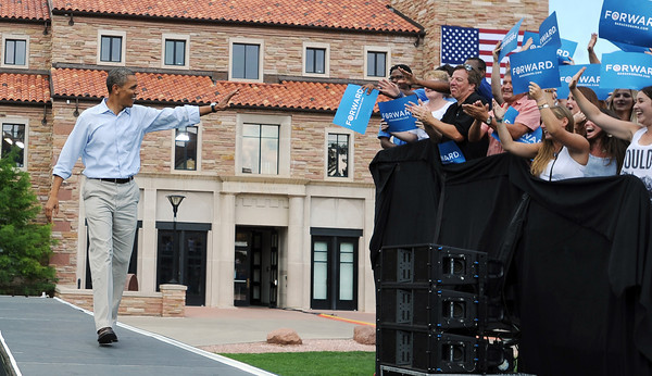 "President Barack Obama comes out to address the crowd at the University of Colorado's Norlin Quad on Sunday  September 2, 2012.<br /> For more photos and a video of Obama, go to  <a href=""http://www.dailycamera.com"">http://www.dailycamera.com</a>.<br /> Cliff Grassmick  / September 2, 2012"