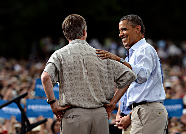 "President Barack Obama greets Colorado Gov. John Hickenlooper after his speech on Norlin Quad at the University of Colorado in Boulder on Sunday, Sept. 2, 2012.  For more photos and videos visit  <a href=""http://www.DailyCamera.com"">http://www.DailyCamera.com</a>.<br /> (Greg Lindstrom/Times-Call)"
