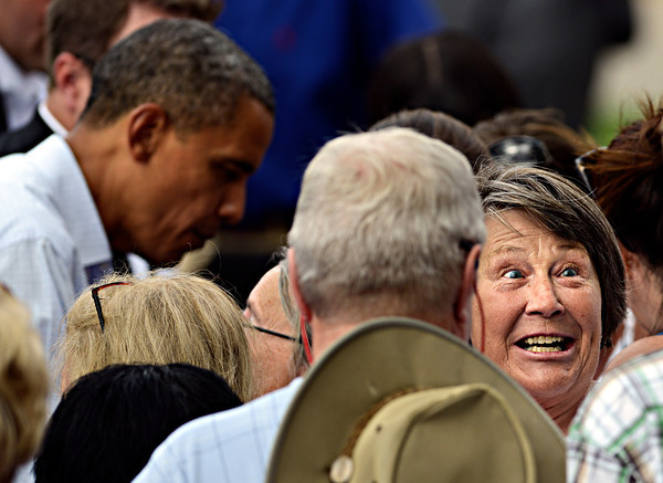 """Linda Muir, of Erie, reacts after receiving a kiss on the cheek from President Barack Obama after his speech on Norlin Quad at the University of Colorado in Boulder on Sunday, Sept. 2, 2012.  For more photos and videos visit  <a href=""""http://www.DailyCamera.com"""">http://www.DailyCamera.com</a>.<br /> (Greg Lindstrom/Times-Call)"""