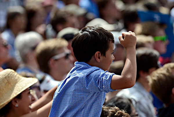 """A young fan cheers as President Barack Obama speaks on Norlin Quad at the University of Colorado in Boulder on Sunday, Sept. 2, 2012.  For more photos and videos visit  <a href=""""http://www.DailyCamera.com"""">http://www.DailyCamera.com</a>.<br /> (Greg Lindstrom/Times-Call)"""
