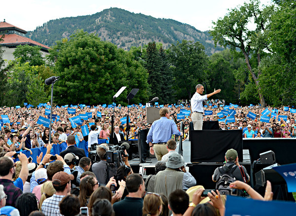 "President Barack Obama waves to supporters after speaking on Norlin Quad at the University of Colorado in Boulder on Sunday, Sept. 2, 2012.  For more photos and videos visit  <a href=""http://www.DailyCamera.com"">http://www.DailyCamera.com</a>.<br /> (Greg Lindstrom/Times-Call)"