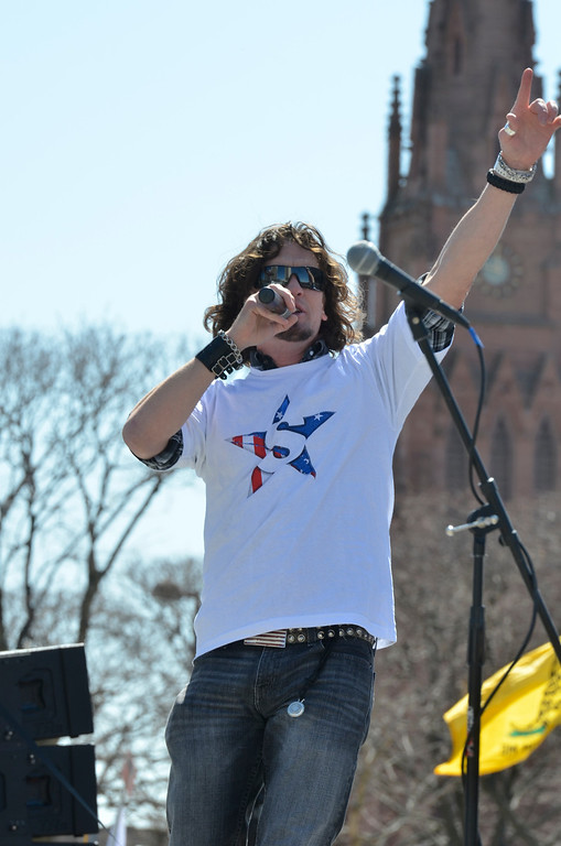 . J.S.CARRAS/THE RECORD  During a gun rights rally where activists were seeking a repeal of a 2013 state law that outlawed the sales of some popular guns like the AR-15 at the Empire State PlazaTuesday, April 1, 2014 in Albany, N.Y..