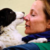 Pet Transfer.JPEG-0402d.JPG Barb Fox receives kisses from the young border collie, Iris, as she goes to her new home after arriving at the Humane Society of Boulder Valley, in Boulder, Colo., Tuesday,  Feb. 28, 2012. (AP Photo/The Denver Post, Joe Amon)  MANDATORY CREDIT; MAGS OUT; TV OUT