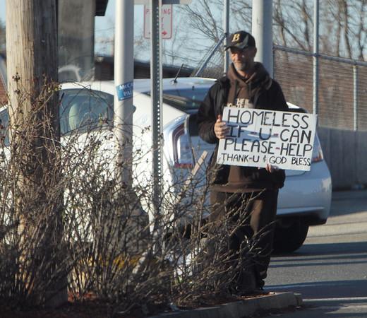 Panhandler on Plain St, Lowell 041416