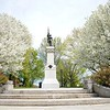BEN GARVER — THE BERKSHIRE EAGLE<br /> Two linden trees in full bloom flank the Civil War monument in Park Square in Pittsfield.