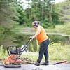 BEN GARVER — THE BERKSHIRE EAGLE<br /> Erin Amadon works on a trail to Parsons Marsh for the Berkshire Natural Resources Council in Lenox, Thursday, September 13, 2018. The 1800 foot trail is accessible to all and has an observation deck at the edge of the marsh.