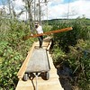 BEN GARVER — THE BERKSHIRE EAGLE<br /> Eddy Ryan works on a boardwalk on Parsons Marsh for the Berkshire Natural Resources Council in Lenox, Thursday, September 13, 2018. The 1800 foot trail is accessible to all.