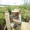 BEN GARVER — THE BERKSHIRE EAGLE<br /> Peter Jensen is building a trail to Parsons Marsh for the Berkshire Natural Resources Council in Lenox, Thursday, September 13, 2018. The 1800 foot trail is accessible to all and has an observation deck at the edge of the marsh.