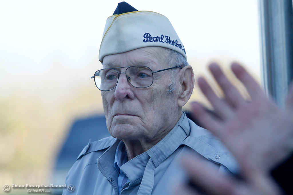 . Art Wells, 95, of Chico just before the Pearl Harbor remembrance ceremony Thursday, Dec. 7, 2017, at the Gridley Cemetery in Gridley, California. (Dan Reidel -- Enterprise-Record)