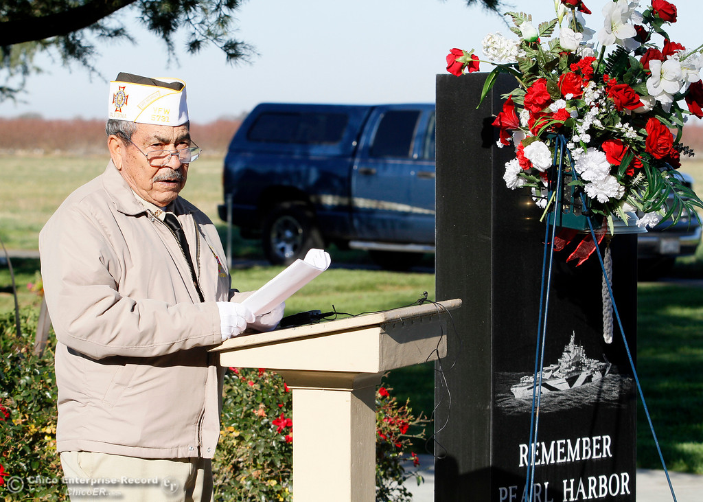 . Air Force veteran George Hiralez conducts the two-bell ceremony during the Pearl Harbor remembrance Thursday, Dec. 7, 2017, at the Gridley Cemetery in Gridley, California. (Dan Reidel -- Enterprise-Record)